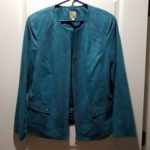 JM Collection, Turquoise Blue Zip LS Blazer